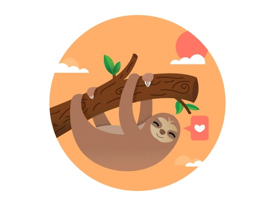Sloth cute illustration orange heart carefree happy sun clouds leaves branch hanging sloth
