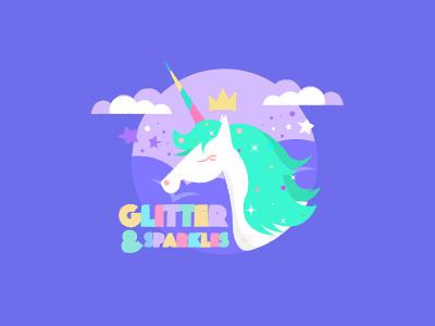 Glitter & Sparkles rainbow colourful stars glitter pastel cute crown clouds green purple unicorn