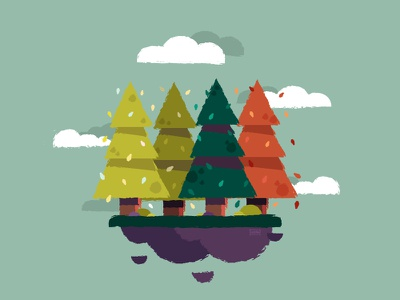 Trees clouds rocks floating island green seasons trees