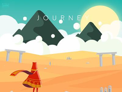 Journey video game illustration desert sun clouds mountains scarf rythulain wanderer traveller journey game journey