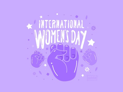 International Women's Day design digital art flowers cute illustration march 8th purple empowerment power fist womens day women