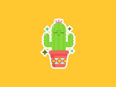 Cactus Sticker stickermule sticker green pot plant cactus design illustration cute