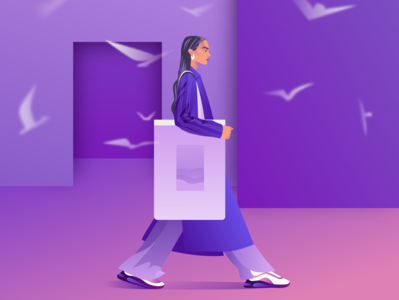 Fashion Girl sea bag seagulls room suit snickers face dribbble design character design illustration art girl illustration
