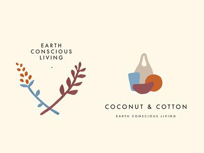Coconut & Cotton   Zero Waste Brand skincare vegan logo illustration line drawing branding sustainable ethical