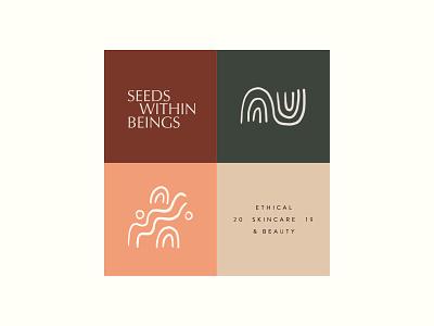 Seeds within Beings | Vegan Skincare branding sustainable packaging logo line drawing illustration clean natural ethical branding skincare brand vegan