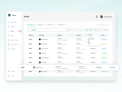Customer Relationship Management (CRM) - Order builder daily ui filtering advanced user experience design design colorful filter ui ux contract web minimalist clean agensip dashboard order status searchbar search