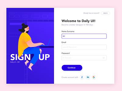Sign Up illustraion sign in signup forms dailyui001 ui design
