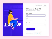Sign Up illustraion sign in signup forms dailyui001 ui design