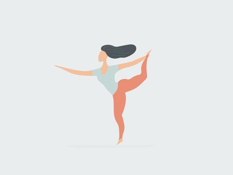 Natarajasana illustrator digital drawing asana yoga vector ui illustration design