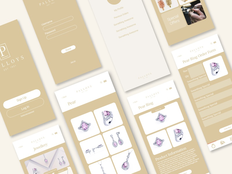 Jewelry Purchase Mobile App Prorotype user interface user experience wireframe prototype ux digital ui design
