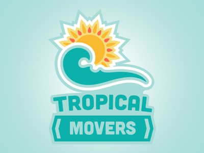 Tropical Movers Logo tropical logo flat key west moving company brand