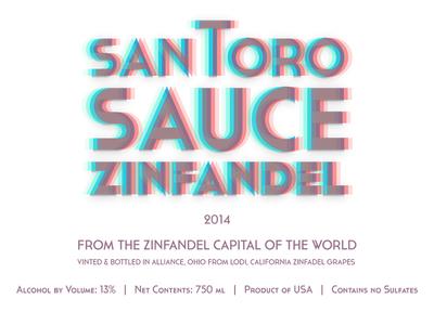 Santoro Sauce Wine Label 2014 logo wine wine label 3d anaglyphic print