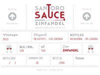Santoro Sauce Wine Label zinfandel print label wine