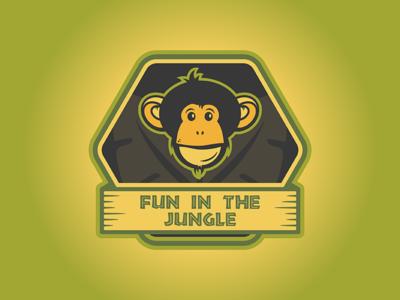 Fun In The Jungle Logo tropical jungle monkey logo