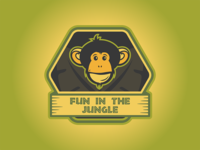 Fun In The Jungle Logo tropical jungle monkey logo
