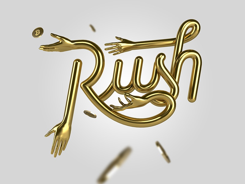 BITCOIN GOLD RUSH ! graphicdesign gold bitcoin typography lettering
