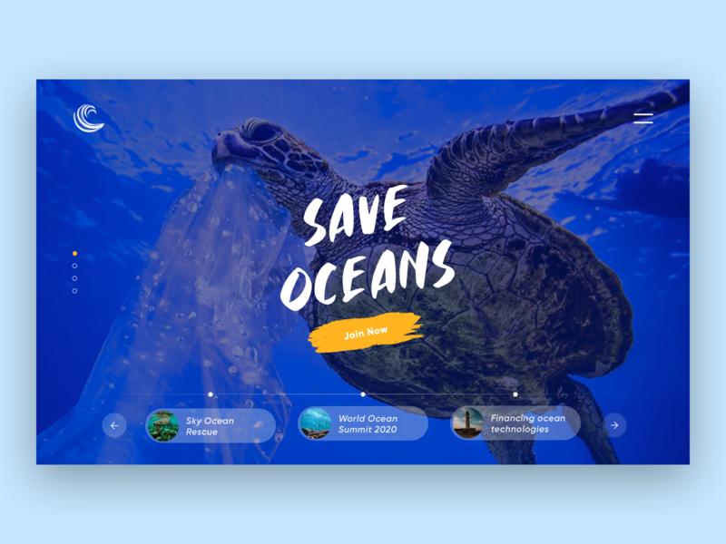 Save Oceans NGO Design Concept sketchapp imageslider slider aquarium header design header design logo user interface ui design daily ui landing page print mobile web design typography product design ui ux