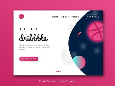 My First Shot uidesign uxdesign ui ux homepage illustration heroimage planets website space drafted webdesign