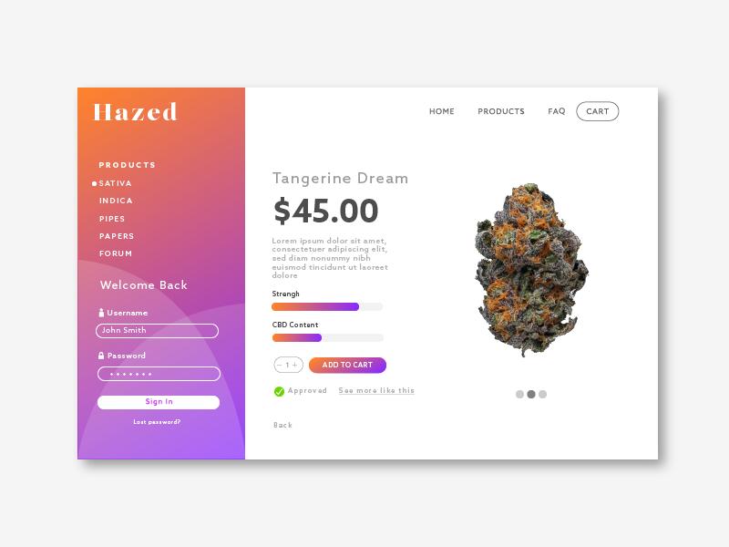 Hazed Natural supplements design smoking branding gradient cannabis weed website ecommerce shop landing page webdesign