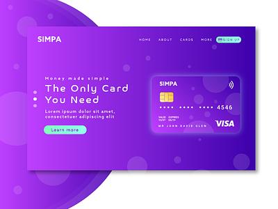 Simpa Finance Concept visacard card banking finance gradient purple bankcard illustration landingpage ux ui webdesign