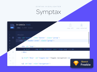 Symptax - Syntax Highlighter icons coder code ui resource free sketch freebie highlighter syntax