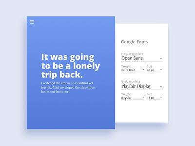 Font pairing app - DailyUI 007 menu app pairing typeface google fonts settings 007 ui daily dailyui
