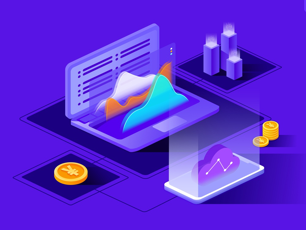 Financial Data diagram gold coin banner app website design illustration data financial