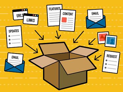 Client Deliverables wireframe paper envelope illustration images web icons box cardboard