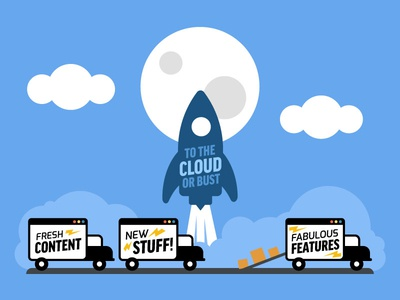 Launching New Features moon clouds development web truck shipping features rocket launch