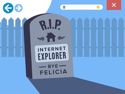 The Death of Internet Explorer felicia stars explorer internet graveyard fence close back home icons tombstone