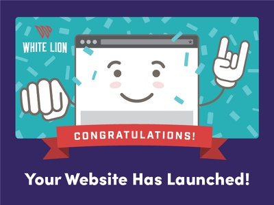 Post Launch Feedback Form Graphic nae nae white lion face happy banner launch website whip