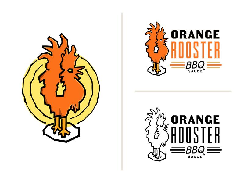 Orange Rooster BBQ Sauce design sun vector illustration branding typography sketch draw icon bbq orange rooster logo