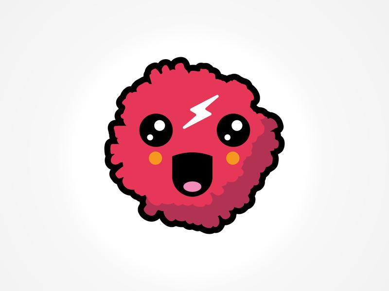 Ring Poms branding lightning illustration pompom pom kawaii bolt character cute logo mascot icon
