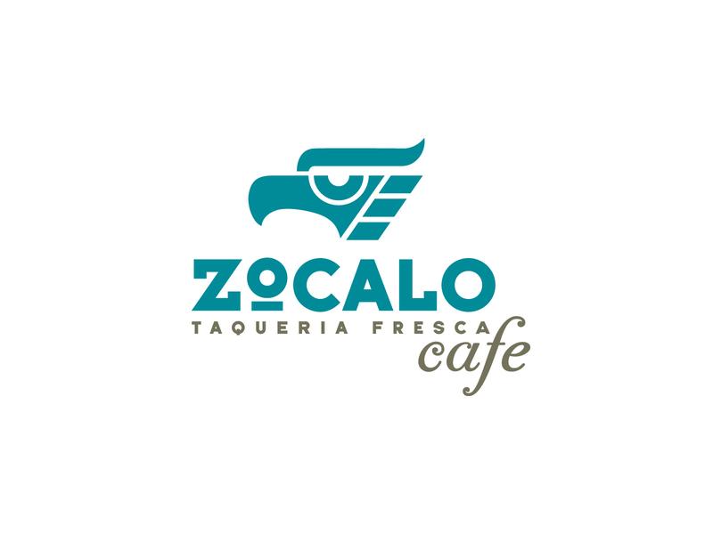 Zocalo Cafe block type bird icon taco cafe zocalo mexico design branding typography logo