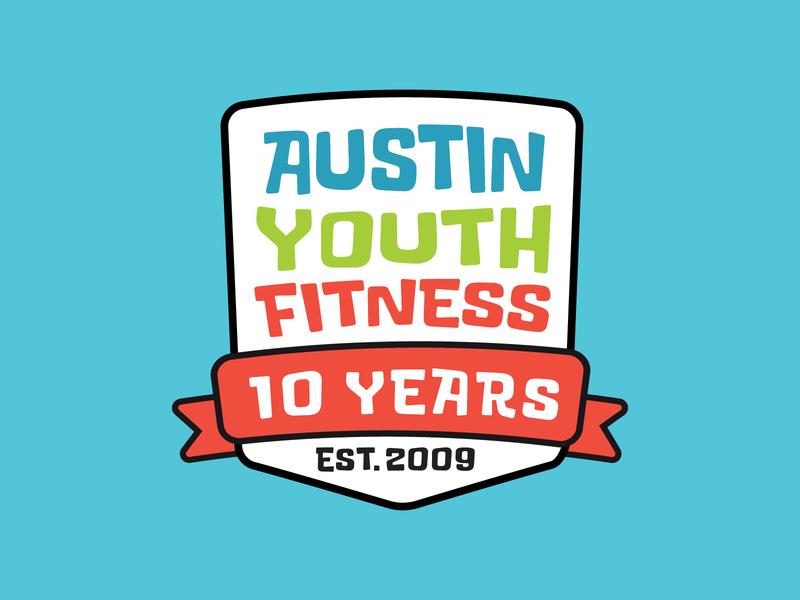 Austin Youth Fitness 10 Year Logo ribbon branding typography design logo