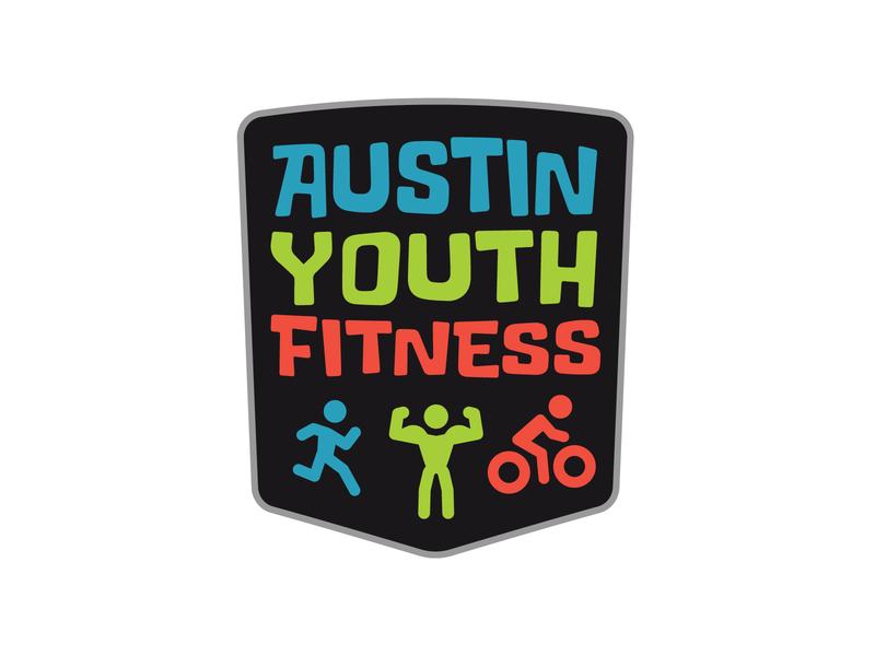 Austin Youth Fitness Logo kids cycle run running runner bike kids fitness branding ribbon typography logo illustration