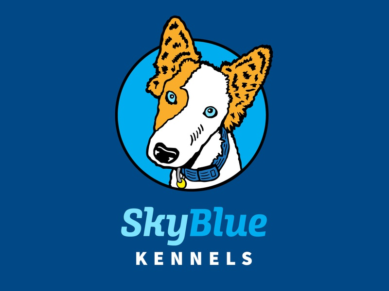 Sky Blue Kennels Logo dog logo dog illustration dogs doggy pets pet care pet dog icons design logo illustration