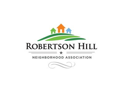 Robertson Hill Neighborhood Association neighborhood hill house home star ribbon typography logo design illustration