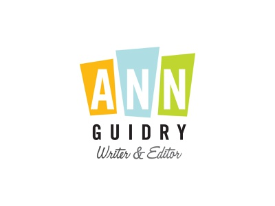 Ann Guidry Writer & Editor Logo post modern script typography design logo