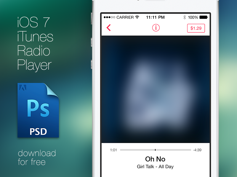 iTunes Radio Player Free PSD (Now with attachment) ui app clean ios ios7 free freebie photoshop psd resources template