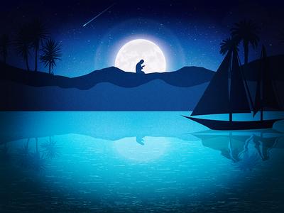 Debut Shot Midnight Prayer river invite debut shot dribbble stars moonlight muslim islam illustration prayer midnight hello