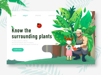A web page about plants gloves hats trees leaves girls men flowerpots insects pages web plants green