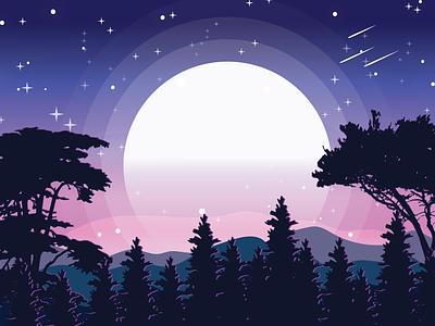 Landscape Illustration design illustration moon hill tree landscape illustration landscape design landscape