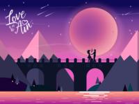 Romantic Night Landscape Illustration