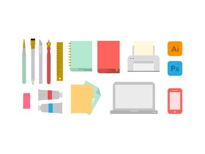 Resume Icons pt. 1 icon resume design brush pencil notebook print adobe cs macbook pro iphone 5c