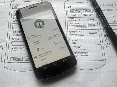 Tapwise Android Application holo android wireframe mobile nfc near field communication
