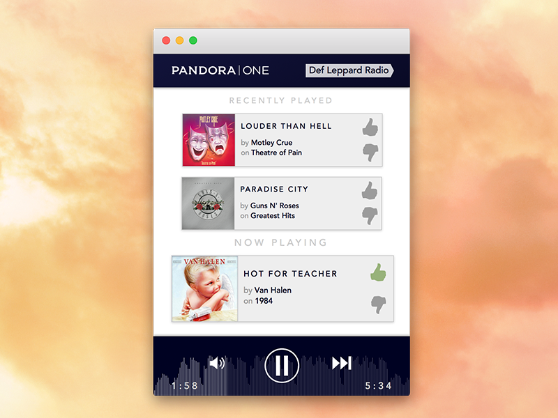 Pandora One Mini Player pandora music player cards audio desktop gradient navy