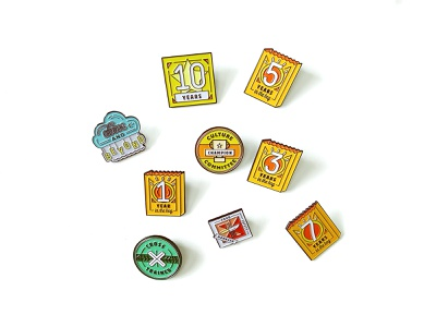Employee Flare pins enamel pins enamel icon branding illustration icons food badge