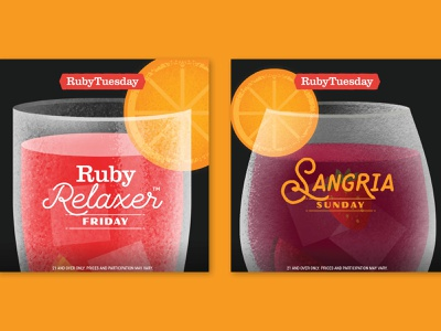 Ruby Tuesday Happy Hour social campaign lockups happy hour drinks drink design food illustration