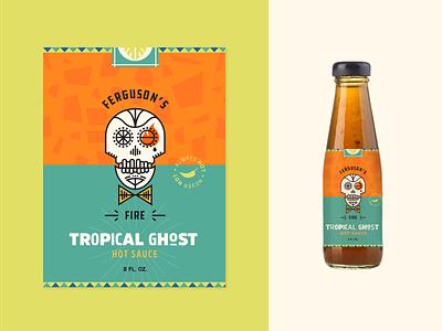 Hot Sauce pattern sauce illustration icons vector branding food package design package bottle logo skeleton skull label hot sauce